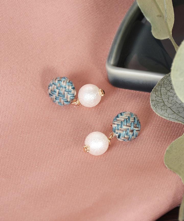 Helena Tweed Earrings - Green