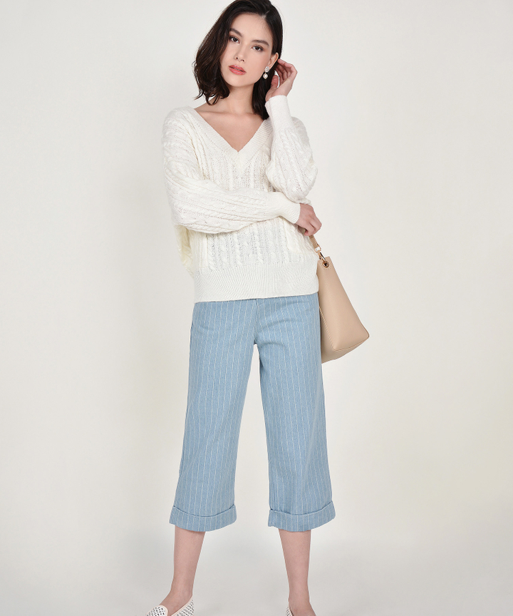Agatha Striped Denim Culottes