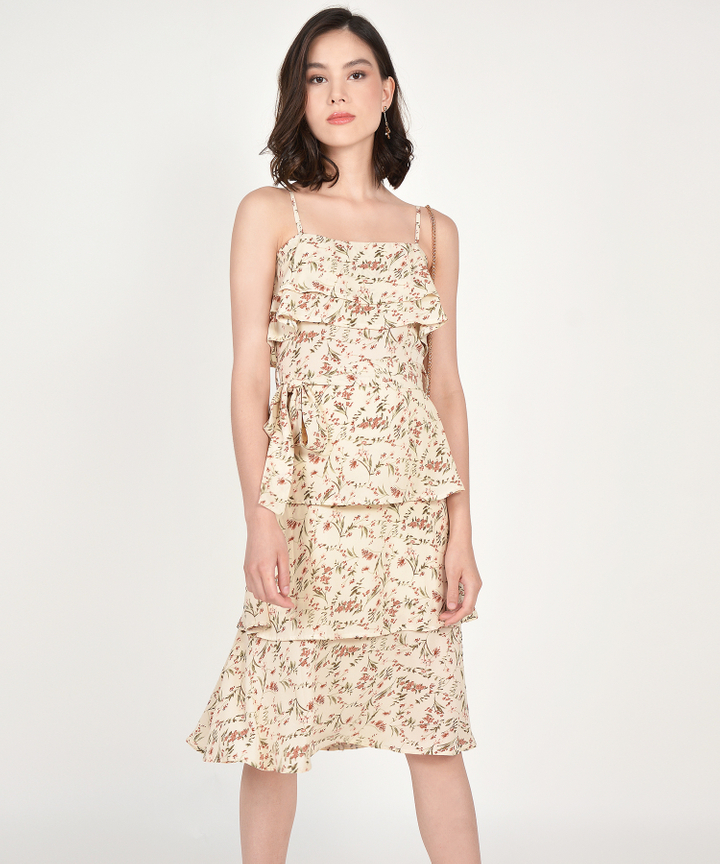 Rosalyn Floral Tiered Midi Dress - Cream