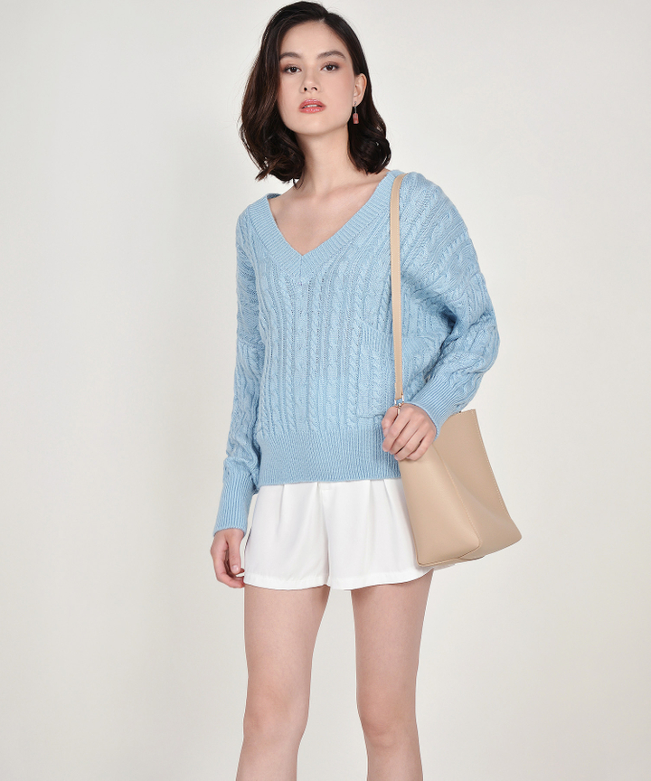 Celeste V-neck Oversized Knit Sweater - Sky Blue