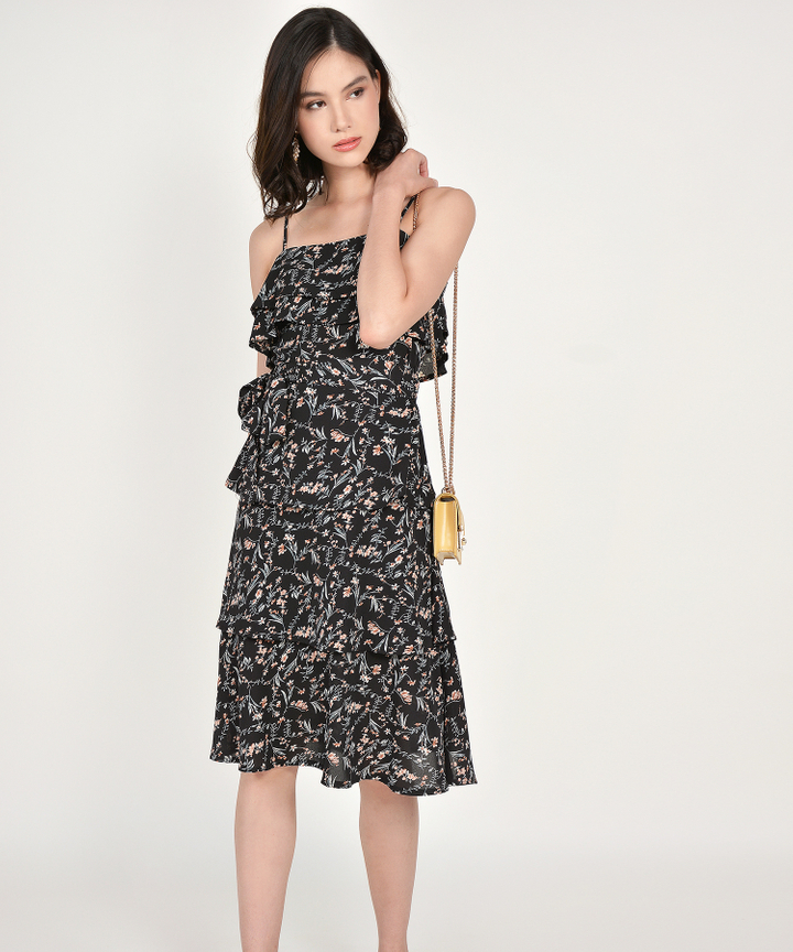Rosalyn Floral Tiered Midi - Black