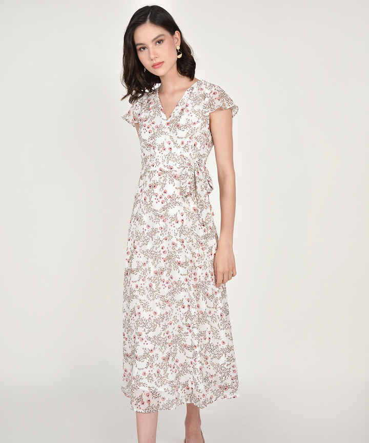Candice Floral Maxi - White
