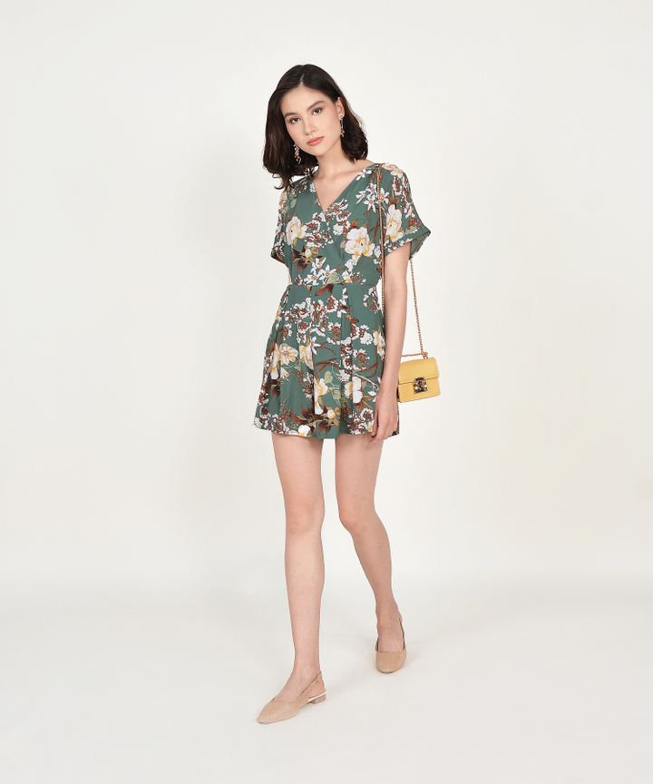 Ceres Floral Kimono Playsuit - Seafoam (Backorder)
