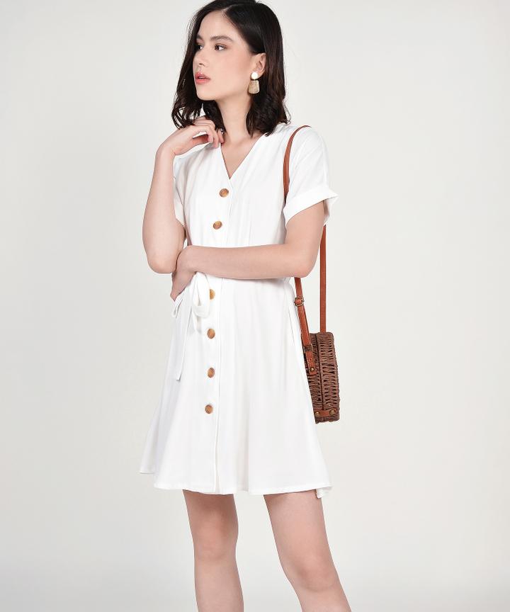 Lizzie Button Down Dress - White
