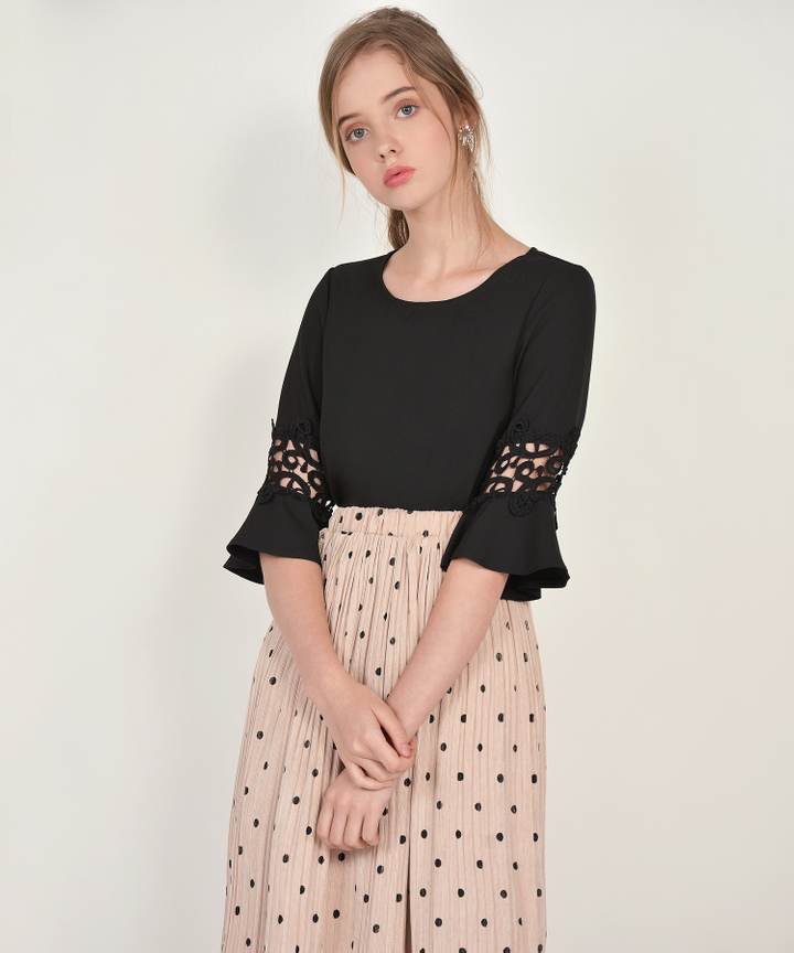 Alice Trumpet Sleeved Blouse - Black