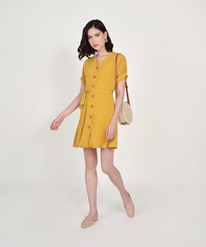Lizzie Button Down Dress - Mustard