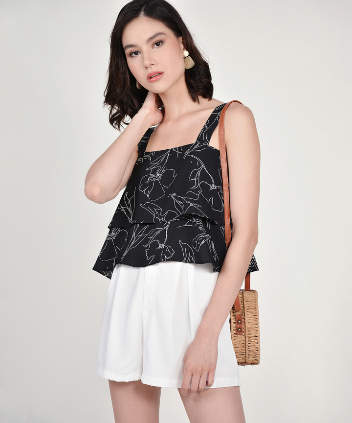 Gwyneth Floral Tiered Top - Black