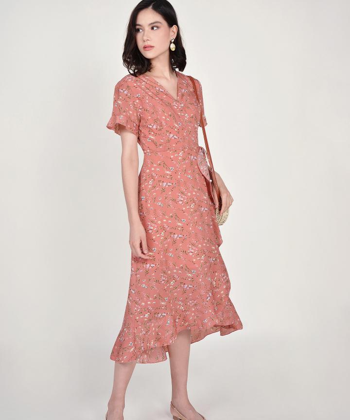 Lindsay Floral Overlay Dress - Pale Coral