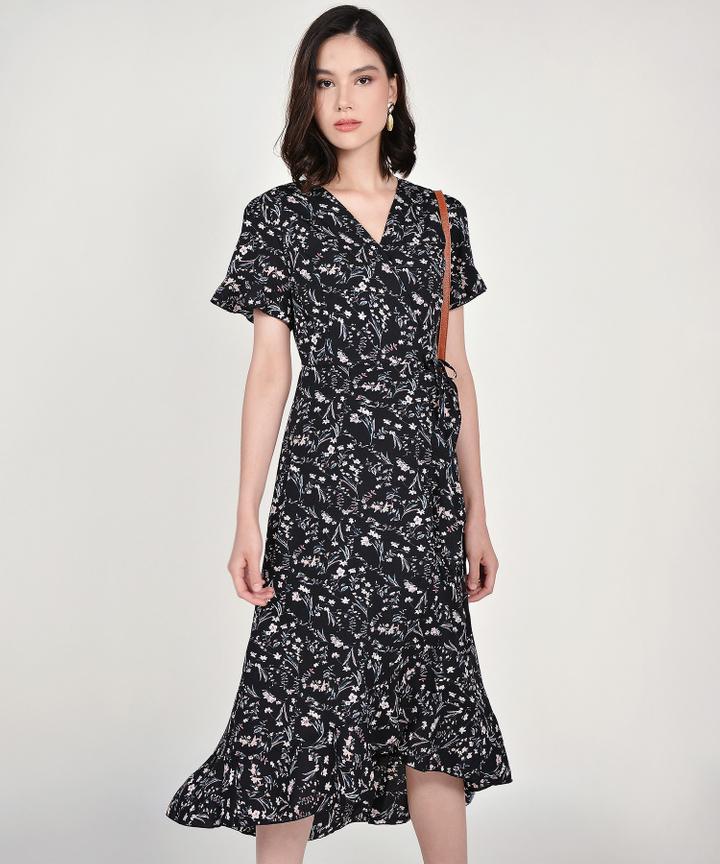 Lindsay Floral Overlay Dress - Black