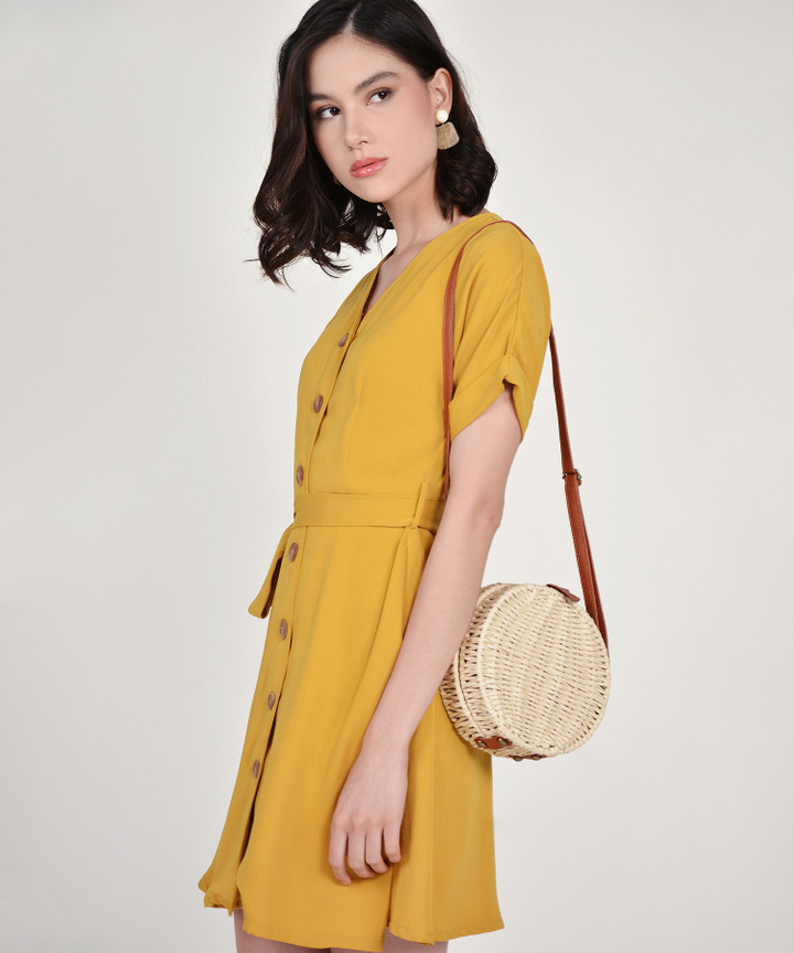 Lizzie Button Down Dress - Mustard