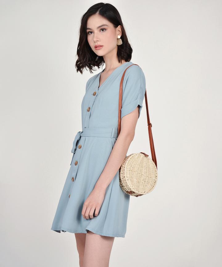 Lizzie Button Down Dress - Mist Blue