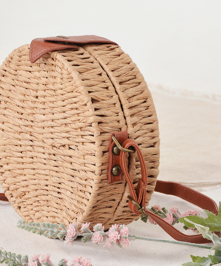 Circular Woven Bag - Medium Brown