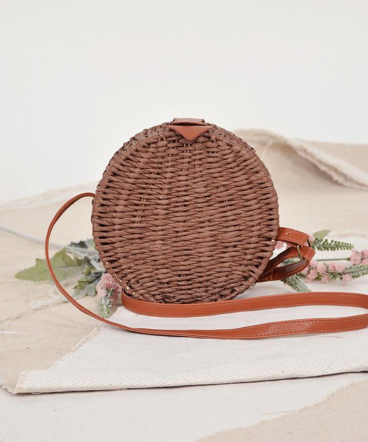 Circular Woven Bag - Dark Brown