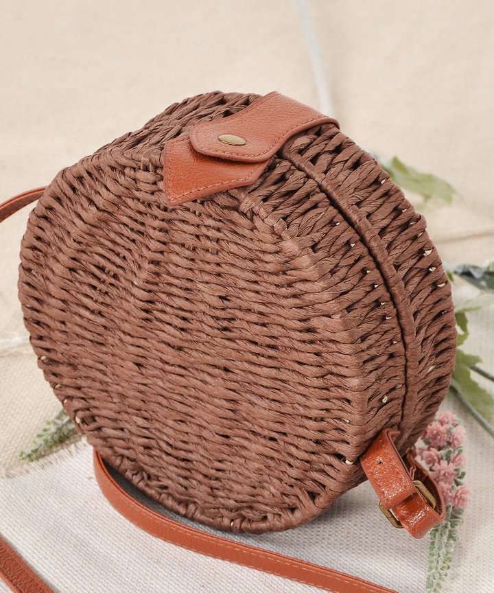 Circular Woven Bag - Dark Brown