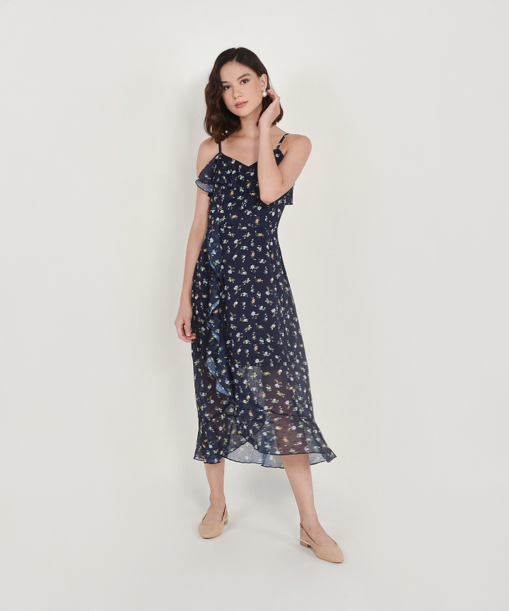 Ophelia Floral Ruffle Maxi - Midnight Blue