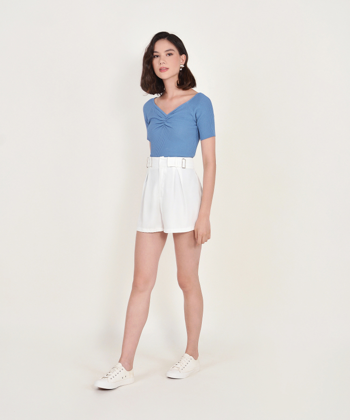 Riley Ruched Knit Top - Blue