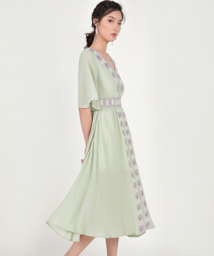 Calla Embroidered Maxi - Pale Sage