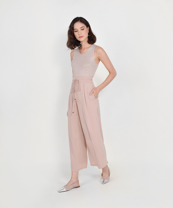 Sachi High Waist Trousers - Pale Mauve
