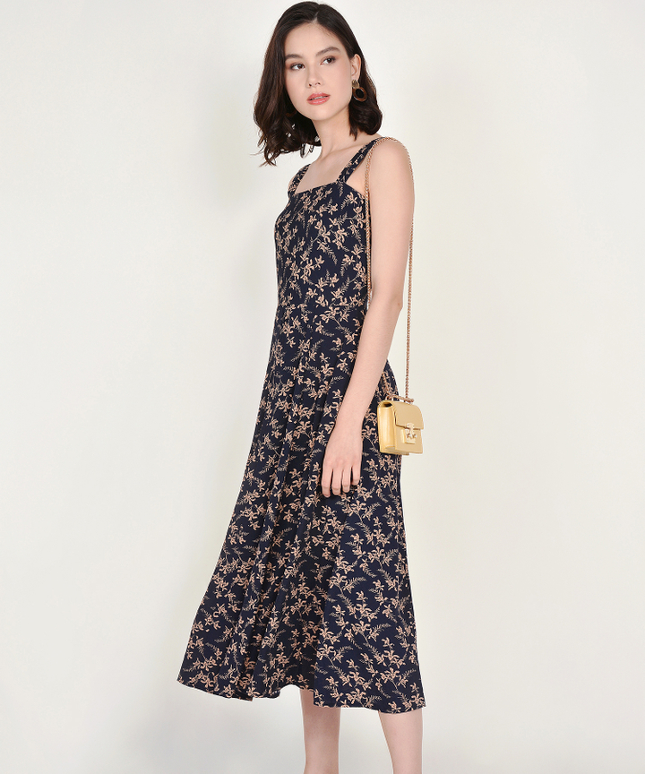 Filigree Floral Midi - Midnight Blue