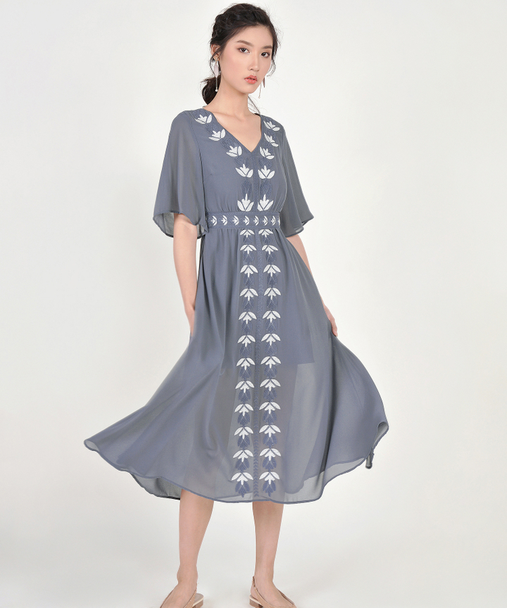 Calla Embroidered Maxi - Storm Grey