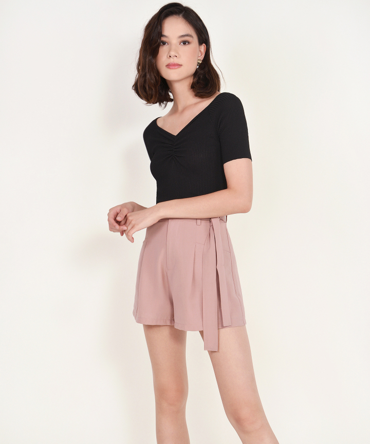 Riley Ruched Knit Top - Black (Backorder)