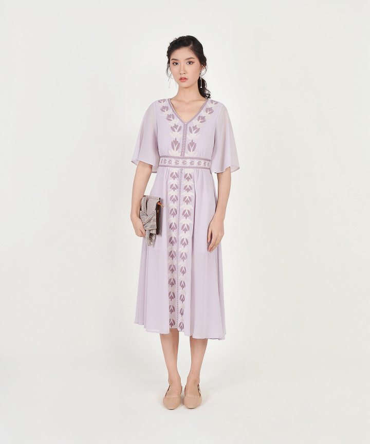 Calla Embroidered Maxi - Pale Lilac
