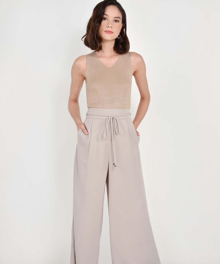 Sachi High Waist Trousers - Pebble Grey
