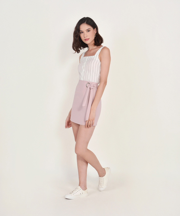 Elena Striped Top - White