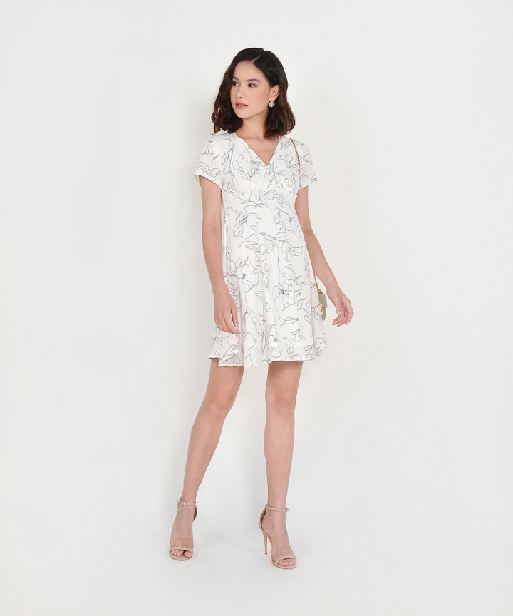 Mathilda Abstract Floral Dress - White