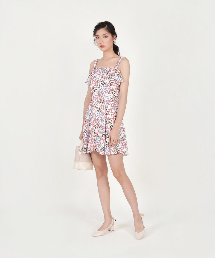Demi Printed Ruffle Dress - Pink