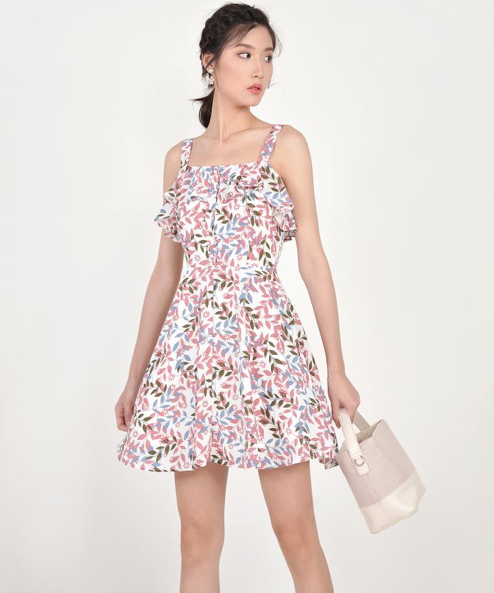 Demi Printed Ruffle Dress - Pink