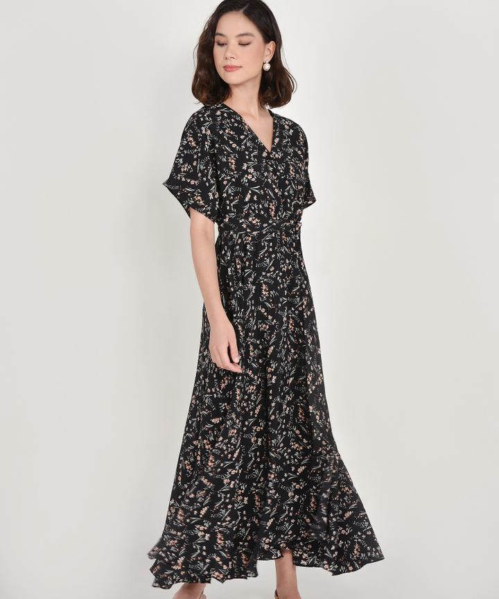 Rosalind Floral Kimono Maxi - Black