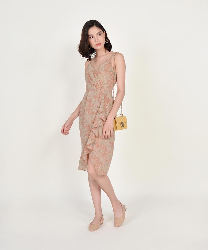Himeji Floral Overlay Dress - Pale Olive