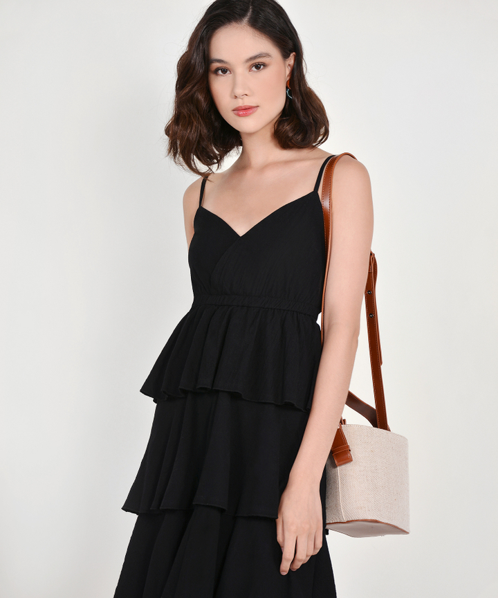 Valeria Tiered Midi - Black (Backorder)
