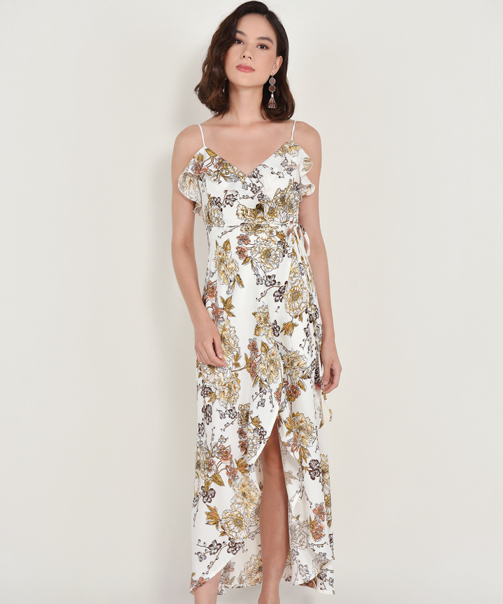 Louisa Floral Overlay Maxi Dress - White