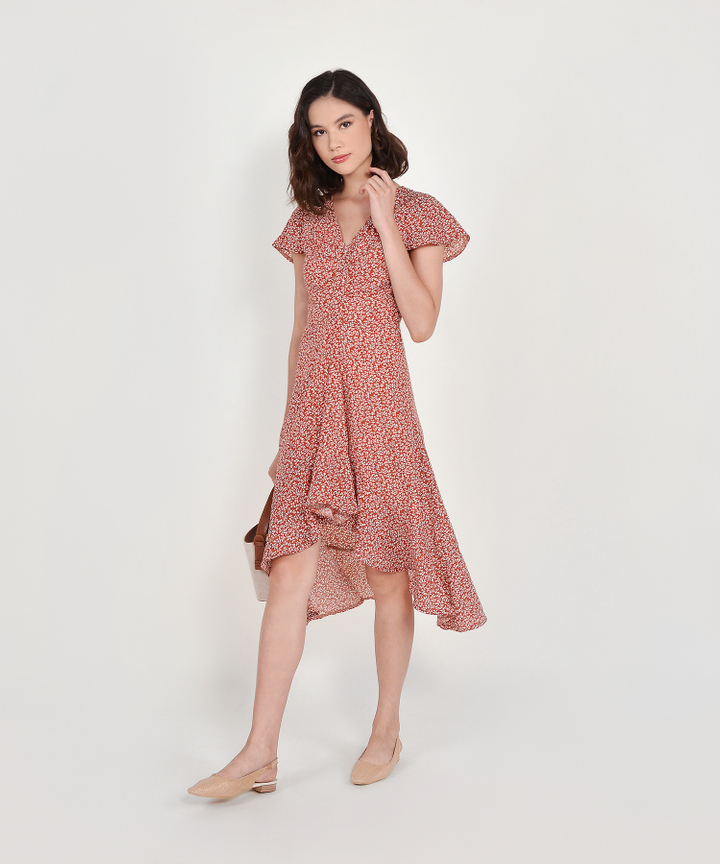 Kacey Floral Asymmetrical Dress - Brick (Restock)