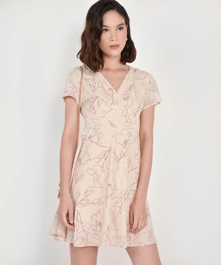 Mathilda Abstract Floral Dress - Ecru