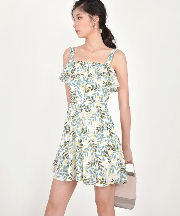 Demi Printed Ruffle Dress - Green