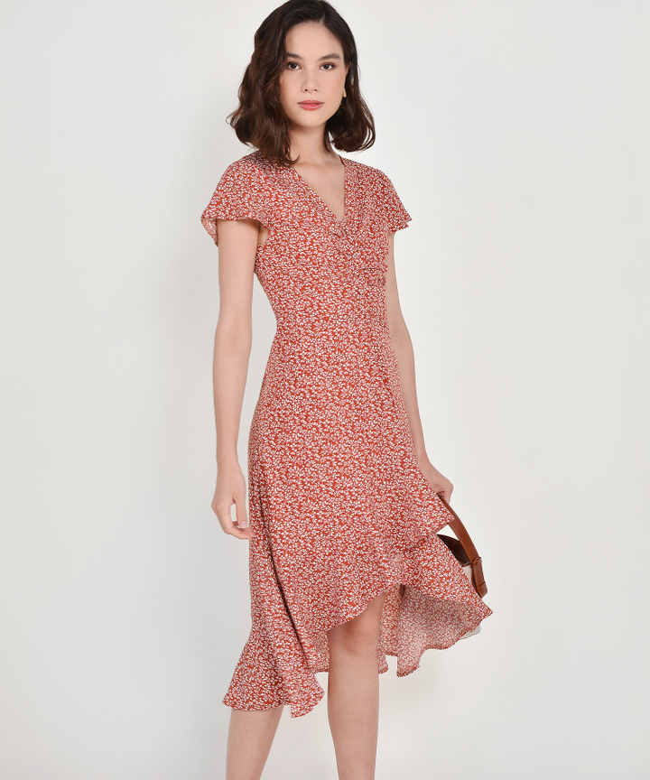 Kacey Floral Asymmetrical Dress - Brick (Backorder)