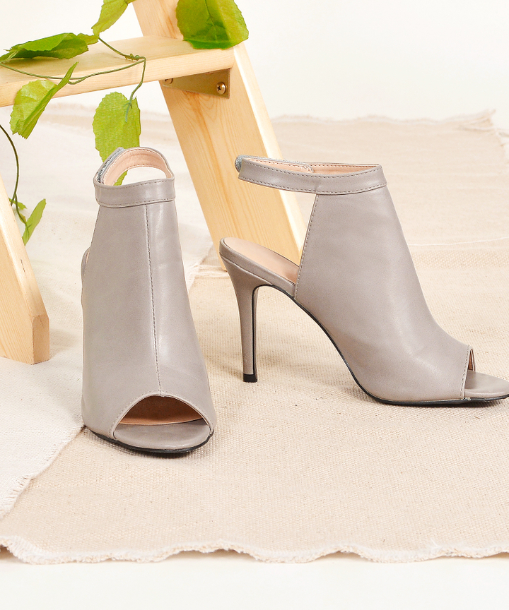 Axel Open-Toe Heels - Grey