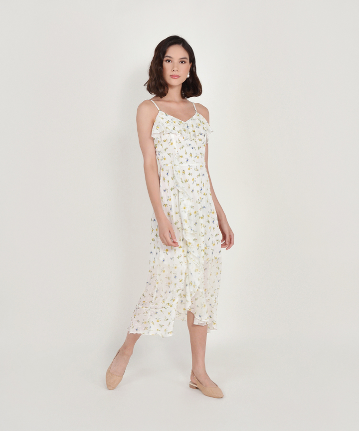 Ophelia Floral Ruffle Maxi - White