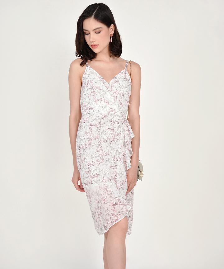 Himeji Floral Overlay Dress - White