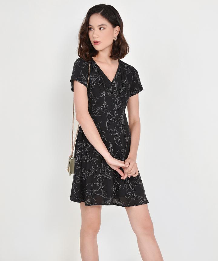 Mathilda Abstract Floral Dress - Black