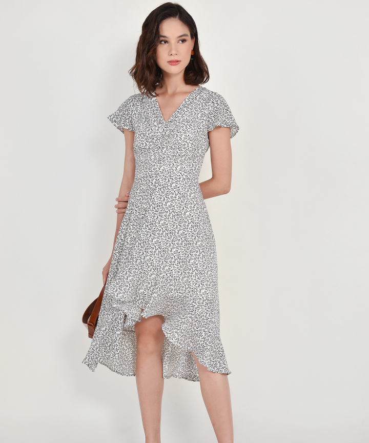 Kacey Floral Asymmetrical Dress - White