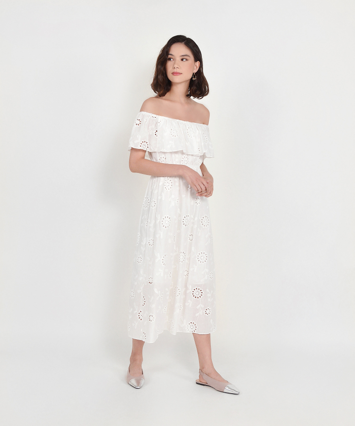 Charlotte Off-Shoulder Eyelet Maxi