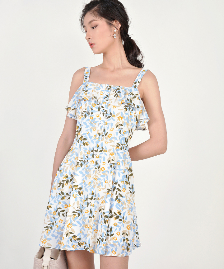 Demi Printed Ruffle Dress - Blue