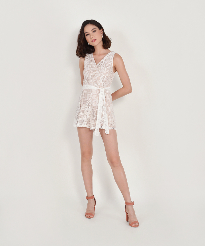 Carrie Lace Playsuit - White