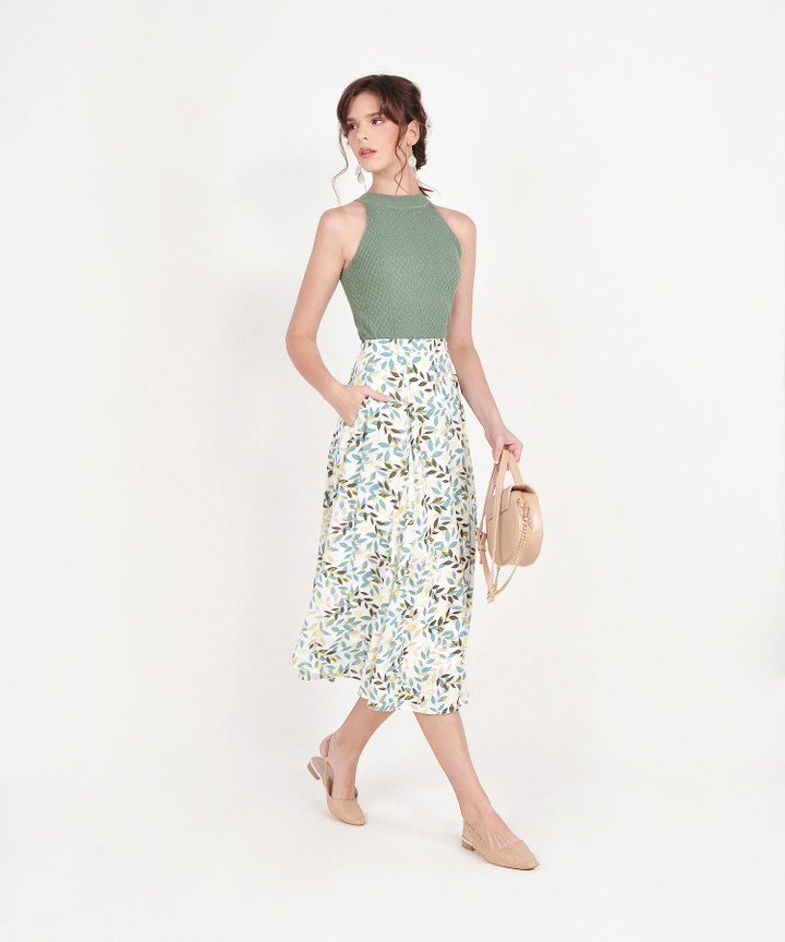 Demi Printed Midi Skirt - Green