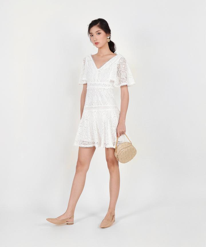 Keiko Crochet Dress - White