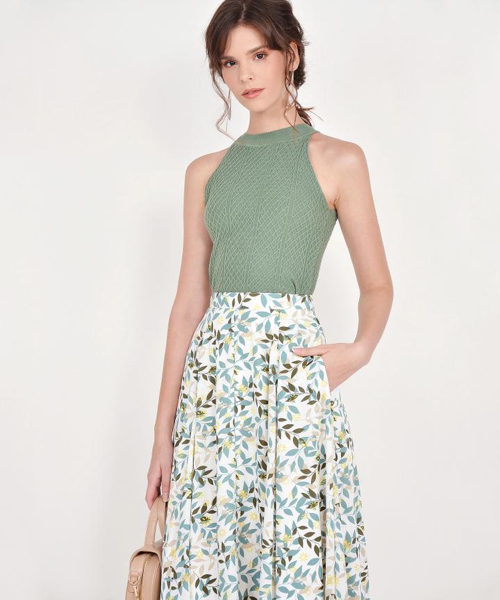 Demi Printed Midi Skirt - Green